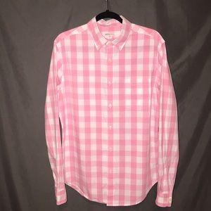 Men's pink and white checkered poplin shirt